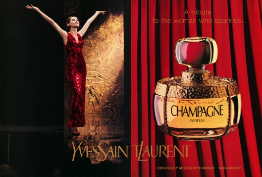 YVES SAINT LAURENT Champagne 1994 US spread (Saks Fifth Avenue) 'A tribute to a woman who sparkles'-L.jpg